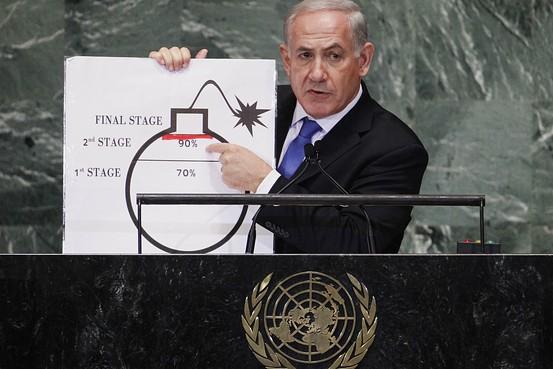 Netanyahu literally drawing a red line - 09-27-12_WSJ