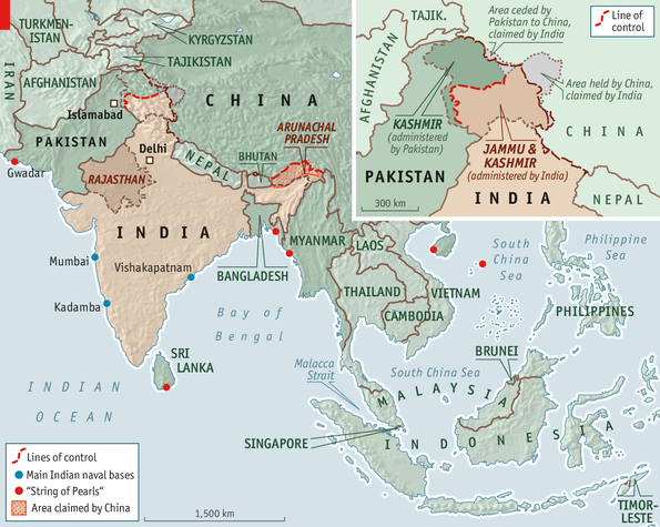 Economist map of India and China